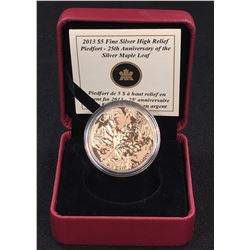 2013 - $5 Canada $5 Piedfort 25th Anniversary of the Silver Maple Leaf Fine Silver High Relief Coin