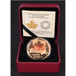 2017 - Canada Red Enameled SE Proof Silver Dollar Our Home & Native Land (NO TAX) (Lightly Toned)