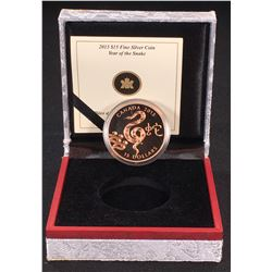 2013 - $15 Canada Zodiac Year of the Snake Fine Silver Coin (NO TAX)(Nice Toning )