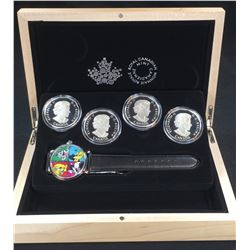 2015 - $20 1oz Looney Toons TM Classic Scenes 4-coin Silver Set with Wrist Watch (NO TAX)