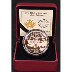 2015 - $20 Holiday Reindeer Fine Silver Coin (NO TAX)