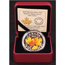 2014  - $20 Canada Majestic Maple Leaves with Colour Fine Silver (No Tax)