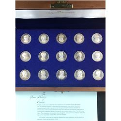 "The Prime Ministers of Canada 15-coin Sterling Silver ""From Sea to Sea"" 1867-1968 Commemorative Set"
