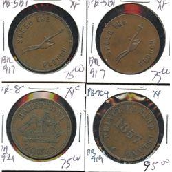 Br. 917 (x2), 919, 921.  Four PEI tokens.