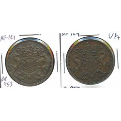 Br. 953, pair of 1846 Rutherford tokens.