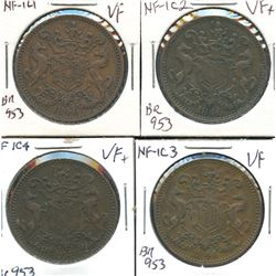Br. 953, group of four 1846 Rutherford tokens.