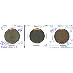 Br. 996, 997.  Group of three Ships Colonies & Commerce tokens.