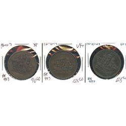 Br. 997. Group of three Ships Colonies & Commerce tokens.
