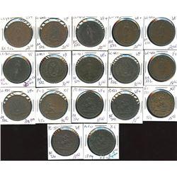 Lot of 17 pre-confederation bank halfpennies