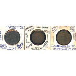 Gnaedinger, Gravel and Purves tokens.