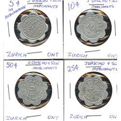 Zurich, Ontario, Four J. Cascho tokens.