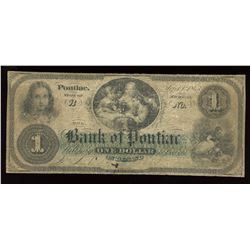 The Bank Of Pontiac, $1, 1863
