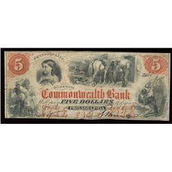 Commonwealth Bank $5, 1858