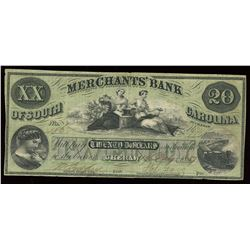 Merchants Bank of South Carolina $20, 1857