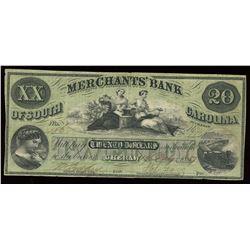 Merchants Bank of South Carolina $20, 1857