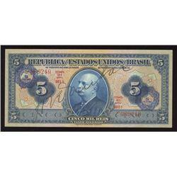 Brazil, 5 CRUZEIROS on 5 Mil Reis, 1942