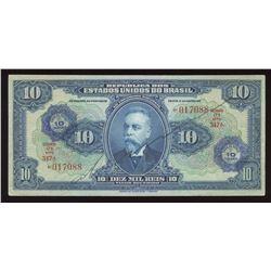 Brazil 10 CRUZEIROS on 10 Mil Reis, 1942