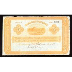 COLOMBIA BANCO DE ORIENTE 5 Pesos, 1888