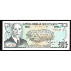 Costa Rica 100 Colones, 1974
