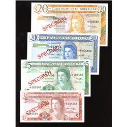 Government of Gibraltar Specimen Set of 4 Notes