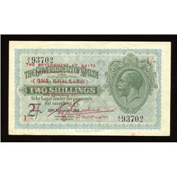 Malta One Shilling overprint on 2 Shillings, 1918