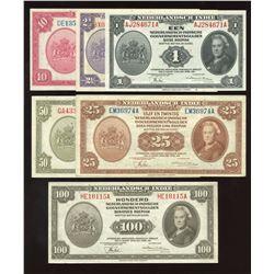 Netherlands Indies Set of 6 Gulden Notes