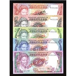 Swaziland Specimen Set of 4 Notes