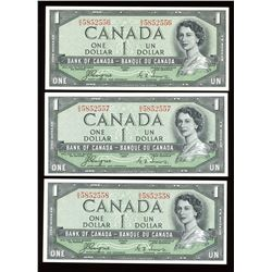 Bank of Canada $1, 1954 - Devil's Face Lot of 3 Consecutives