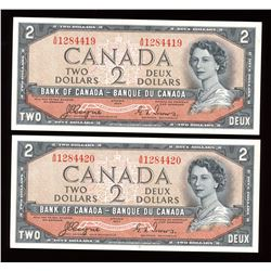 Bank of Canada $2, 1954 - Devil's Face Lot of 2 Consecutives