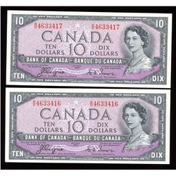 Bank of Canada $10, 1954 - Devil's Face Lot of 2 Consecutives