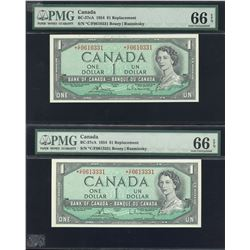 Bank of Canada $1, 1954 - Lot of 2 Replacement Notes
