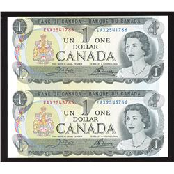 Bank of Canada $1 Replacement Pair, 1973
