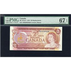 Bank of Canada $2, 1974 Replacement Note