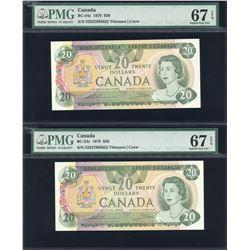 Bank of Canada $20, 1979 - Lot of 2 Consecutives