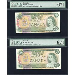 Bank of Canada $20, 1979 - Lot of 2 Consecutives