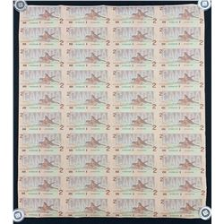 Bank of Canada $2, 1986 - Uncut Sheet of 40 Replacement Notes