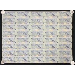 Bank of Canada $5, 1986 - Uncut Sheet of 40 Notes