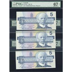 Bank of Canada $5, 1986 - Lot of 3 Consecutives Transitional Prefix's