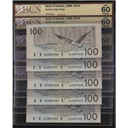 Bank of Canada $100, 1988 - 5 Consecutive Notes