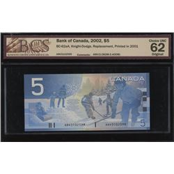 Bank of Canada $5, 2002 - Replacement Note