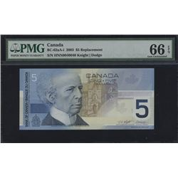Bank of Canada $5, 2003 - Replacement Note