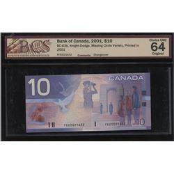 Bank of Canada $10, 2001 - Missing Circle Variety