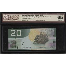 Bank of Canada $20, 2004 - Single Note Replacement