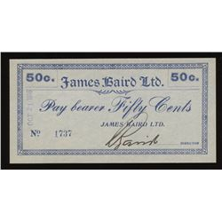 Newfoundland - James Baird Ltd. 50 Cents, 1916