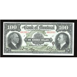 Bank of Montreal $100, 1931