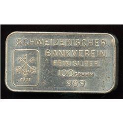 Schwizerischer Bankverein Fine Silver 100 Gram Bar