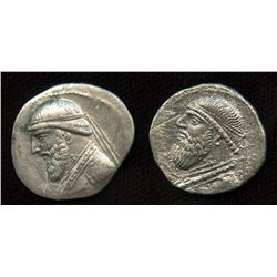KINGS of PARTHIA, Mithradates II. ca. 124/121-91 BC. AR Drachm. Lot of 2
