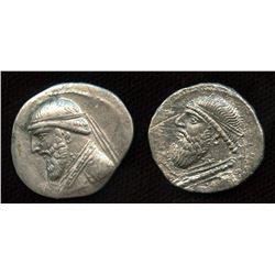 KINGS of PARTHIA, Mithradates II. ca. 124/121-91 BC. AR Drachm. Lot of 2