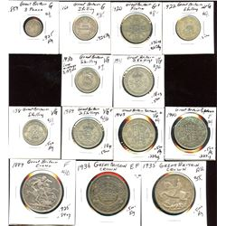 Mixed lot of British silver coins (1856-1941)