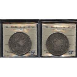 Lot of 2 France silver 5 Francs, 1811K and 1813K